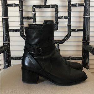 Via Spiga black leather strapped heeled boots 7